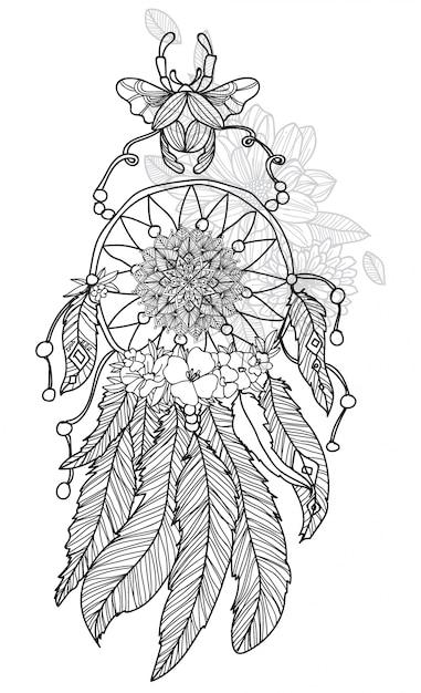 Mão de arte de tatuagem desenho dreamcatcher preto e branco com ilustração de arte de linha isolada Vetor Premium