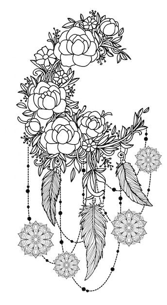 Mão de arte de tatuagem desenho dreamcatcher preto e branco com ilustração de arte de linha Vetor Premium