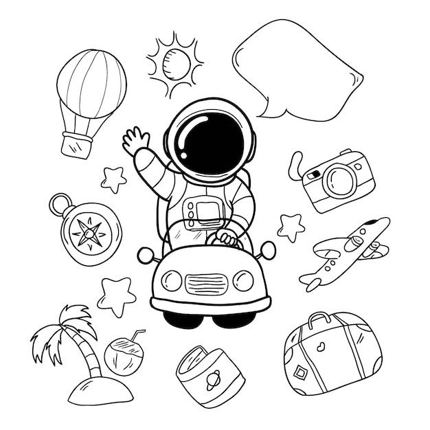 Mão de astronauta de férias desenhada e elementos de viagem Vetor Premium