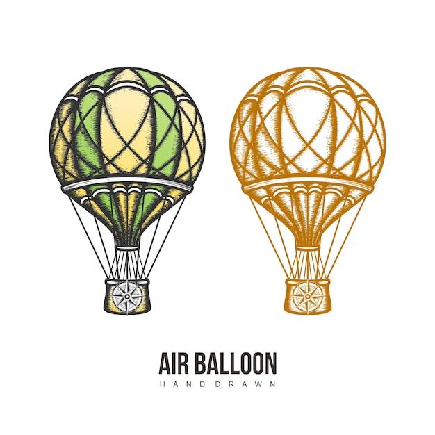 Mão de balão de ar desenhada Vetor Premium