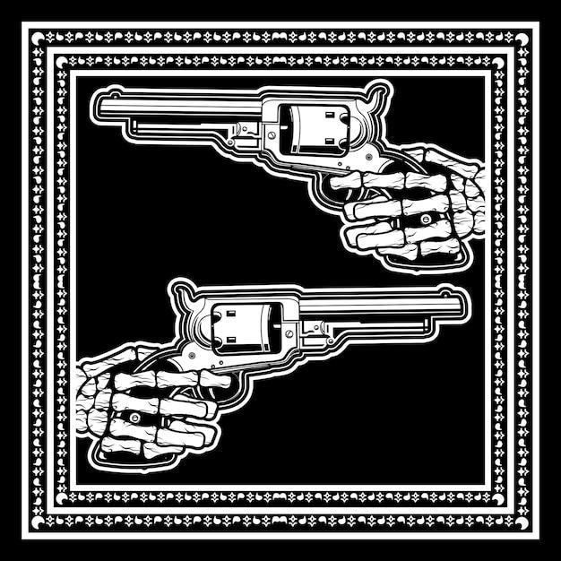 Mão de caveira segura arma uzi Vetor Premium