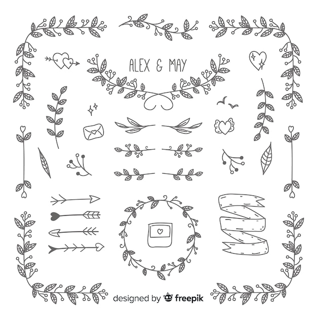 Mão de coleção de enfeites de casamento desenhada Vetor grátis