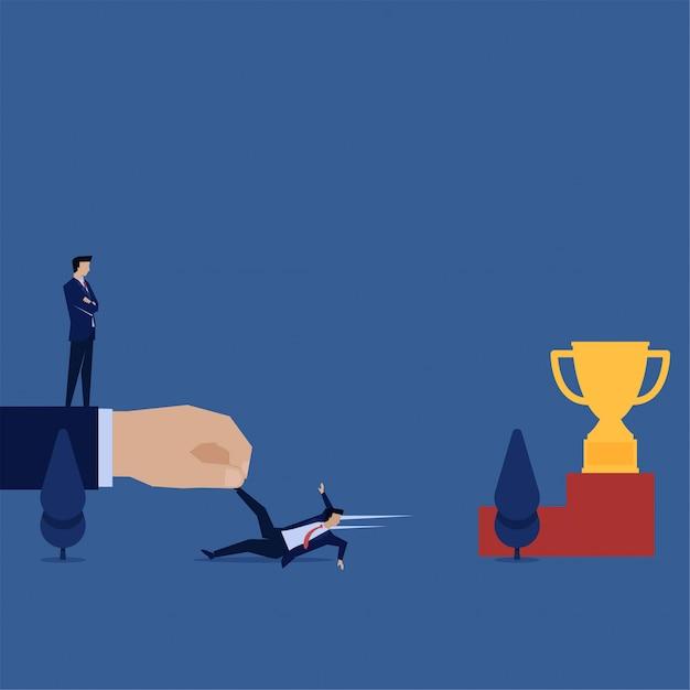 Mão de conceito de vetor plana de negócios arraste empresário de alcançar a metáfora do troféu da concorrência desleal. Vetor Premium