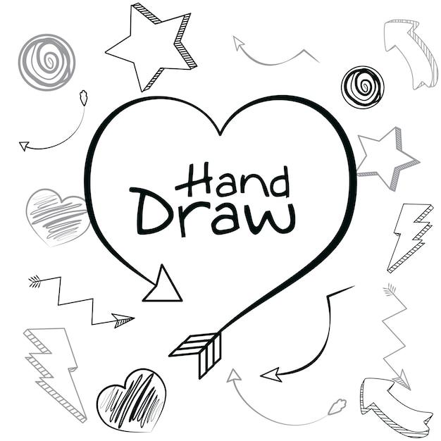 Mao De Coracao Desenhar Desenhos Animados Ilustracao Vetorial