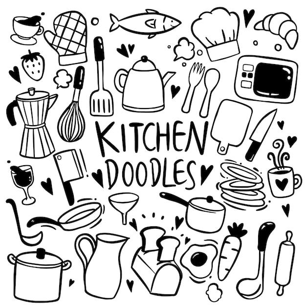 Mão de cozinha desenhada doodles vector Vetor Premium
