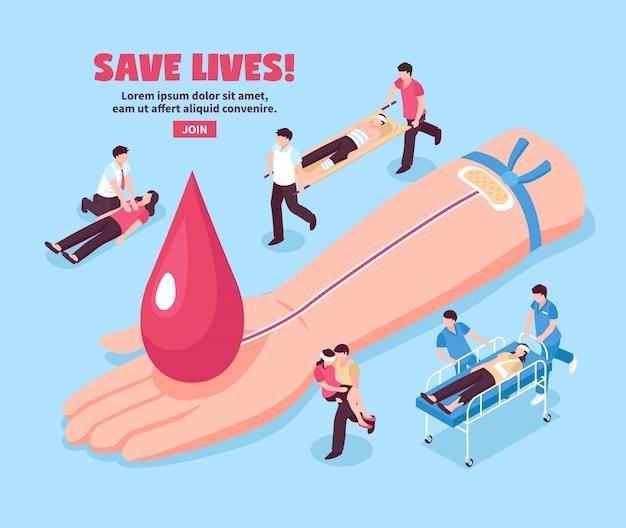 Mão de doador de ilustração isométrica de doação de sangue com gota vermelha e pessoas feridas em azul Vetor grátis