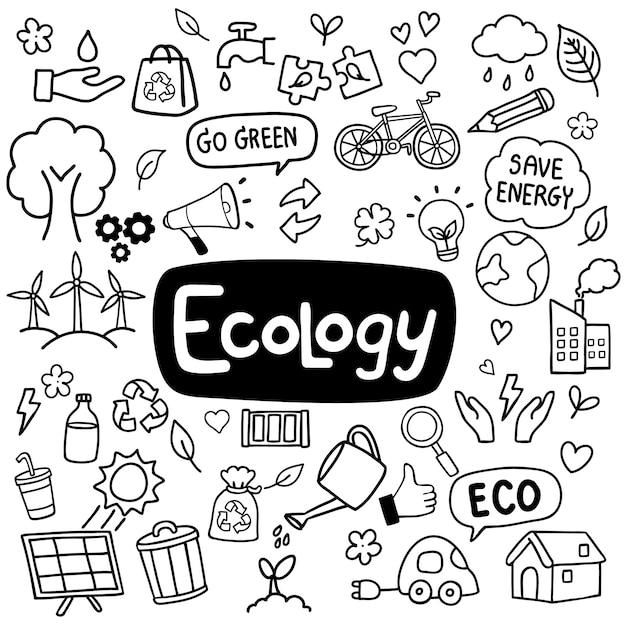 Mão de ecologia desenhada doodles fundo Vetor Premium
