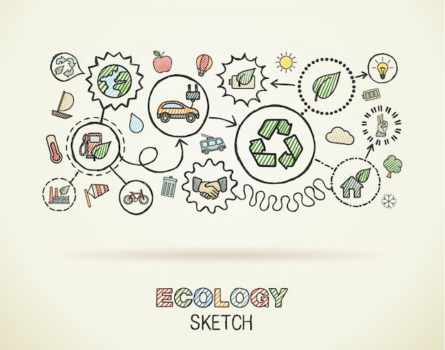 Mão de ecologia desenhar ícones integrados em papel quadriculado. cor desenho infográfico ilustração. pictogramas de doodle conectado. eco-amigável, bio, energia, reciclar, carro, planeta, conceitos verdes Vetor Premium