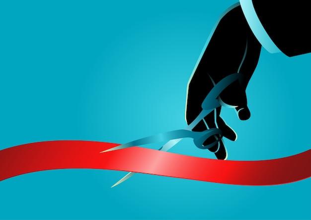 Mão de empresário com tesoura, corte a fita vermelha. novo projeto, conceito de cerimônia de abertura, ilustração Vetor Premium