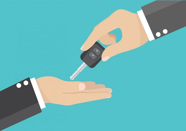 Mão de empresário, dando a chave do carro Vetor Premium