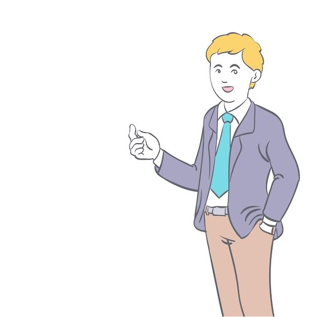 Mão de empresário em pé desenhada Vetor Premium
