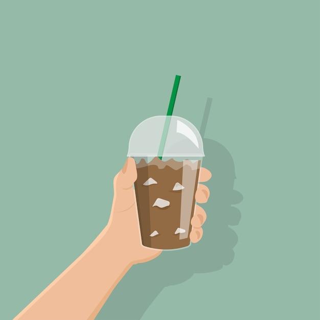 Mão de empresário segurar café gelado Vetor Premium