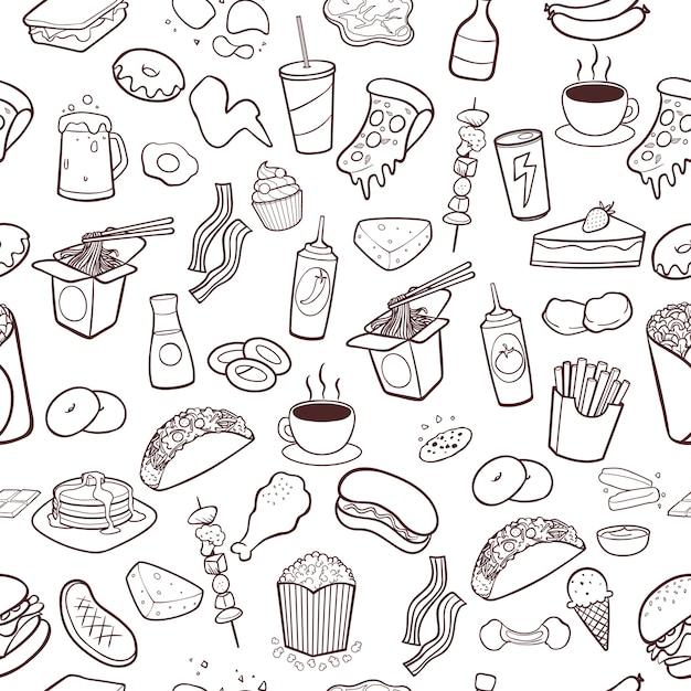 Mão de fast-food desenhada doodles sem costura de fundo Vetor Premium