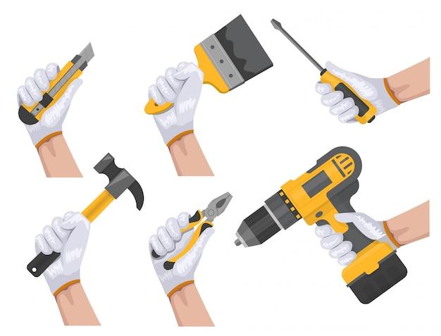 Mão de ferramenta de construção Vetor Premium