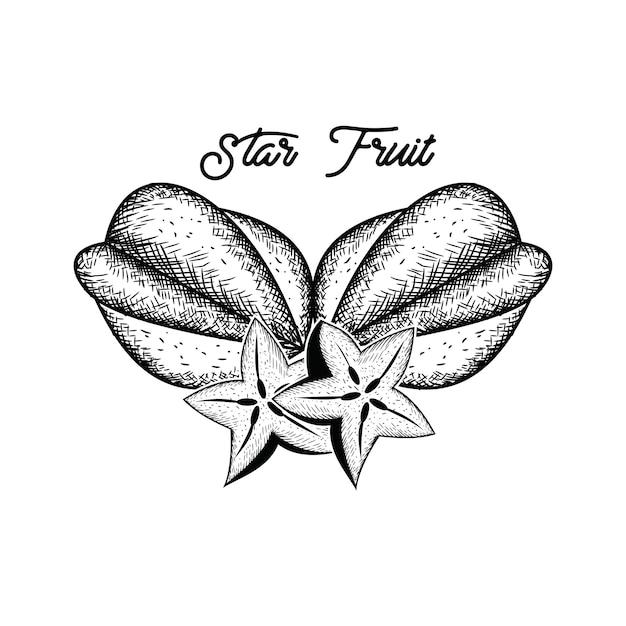 Mão de frutas estrelas desenhada Vetor Premium