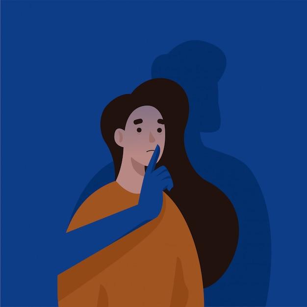 Mão de homem cobrindo a boca da mulher. violência doméstica e abuso. pare a violência contra a ilustração do conceito de mulheres. Vetor Premium