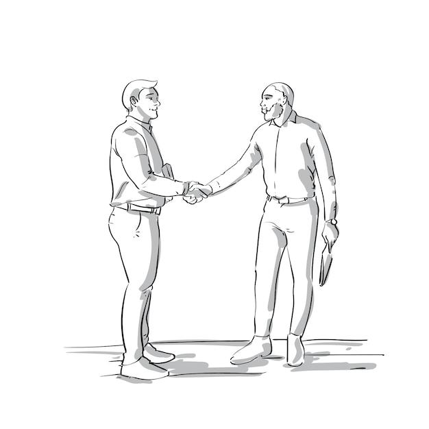 Mão de homens de negócios apertar dois empresários de sketch agitando as mãos sobre fundo branco acordo acordo conceito Vetor Premium