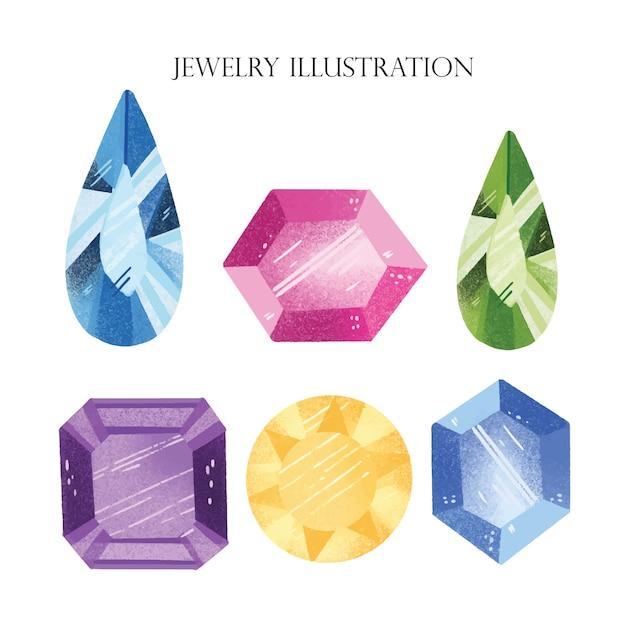 Mão de ilustração de joias desenhada Vetor Premium