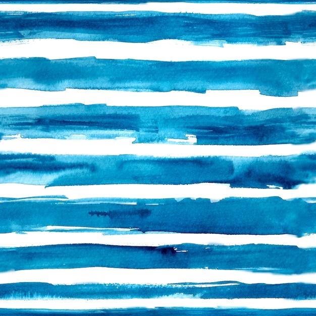 Mão de listras azuis aquarela desenhada Vetor Premium