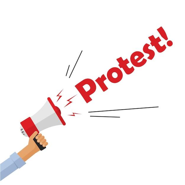 Mão de manifestante segurando megafone gritando placa de texto de protesto, pessoa com raiva Vetor Premium