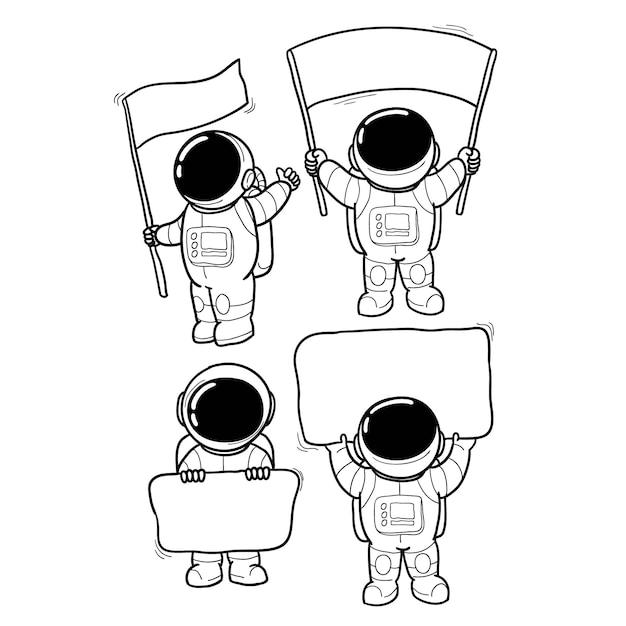 Mão de mensagem de astronauta desenhada Vetor Premium