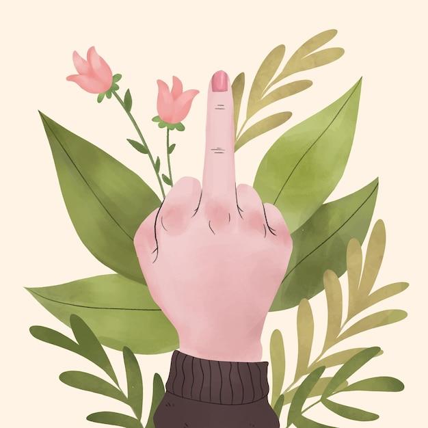 Mão de mulher mostrando o dedo médio Vetor grátis
