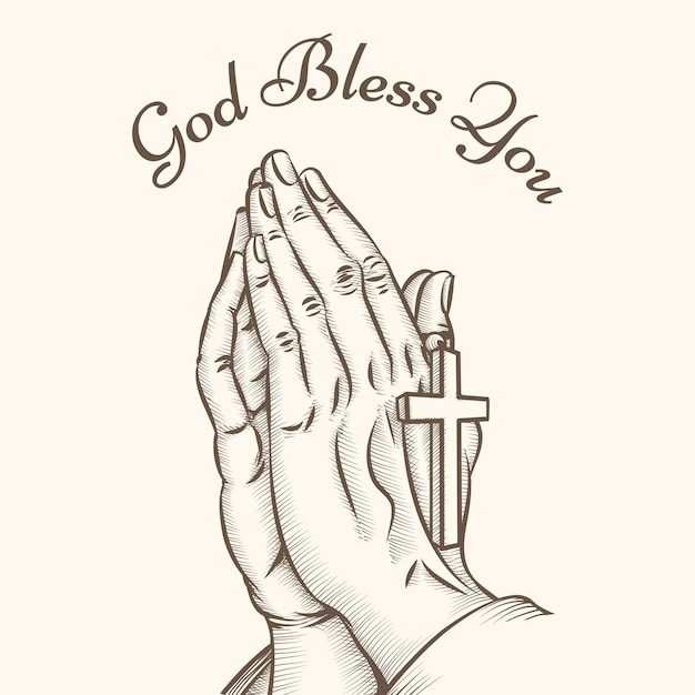 Mão de oração com cruz. religioso e deus, reza e santo, espiritualidade e crucifixo Vetor grátis