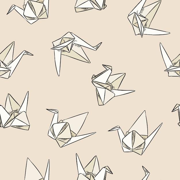 Mão de origami papel mão desenhada sem costura padrão Vetor Premium