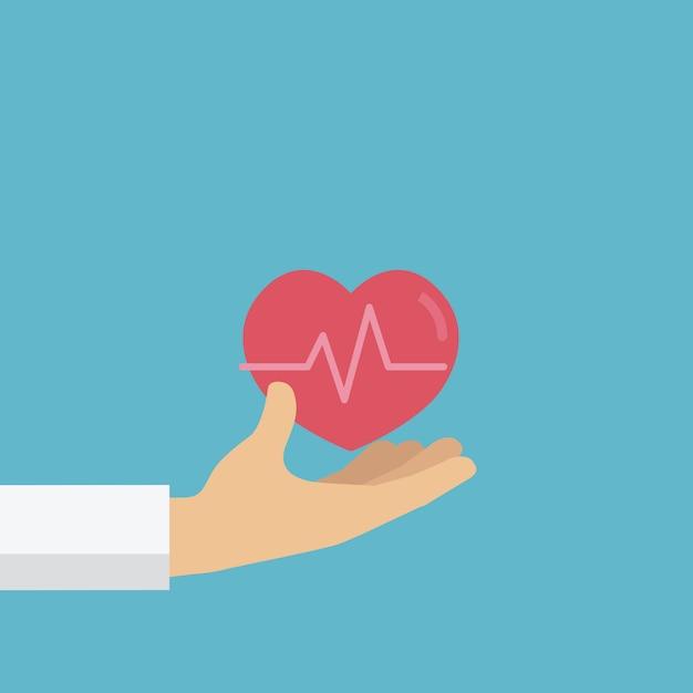Mão de pessoas dá um coração vermelho, doação de sangue, dia mundial do doador de sangue Vetor Premium