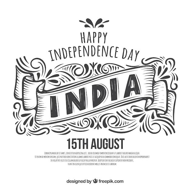 Mão de preto e branco desenhado fundo de dia da independência indiana Vetor grátis