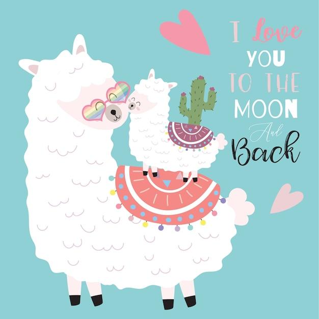Mão-de-rosa azul desenhado cartão bonito com lhama, flor, coração. eu te amo mais do que tudo Vetor Premium