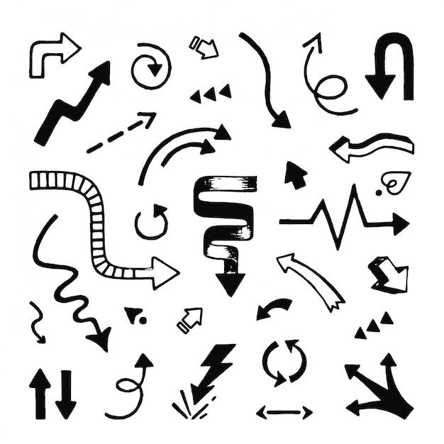 Mão de setas desenhada. doodle ponteiros de seta de linha esboçada e símbolos de rabisco de direção Vetor Premium