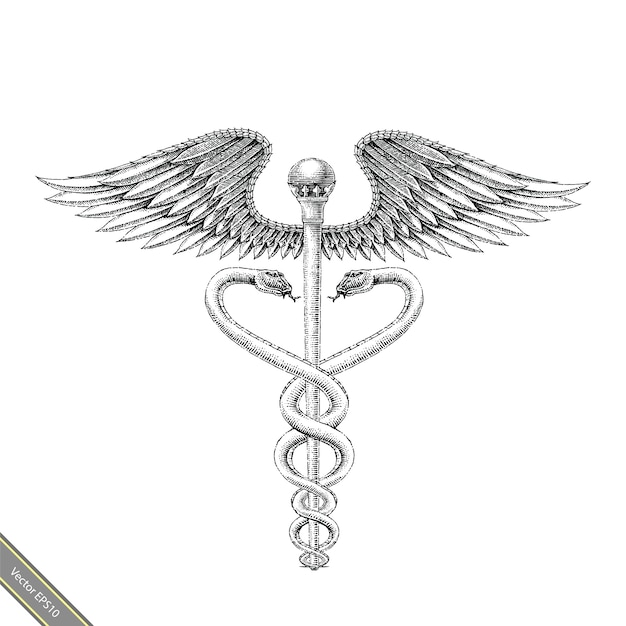 Mão de símbolo médico desenho estilo vintage. mão de esculápio desenho logotipo preto e branco de estilo Vetor Premium