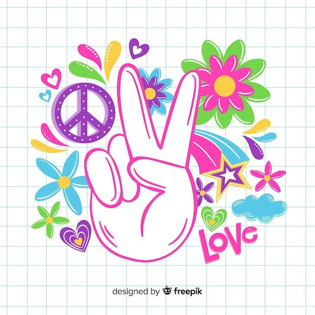Mão de sinal de paz vintage Vetor grátis