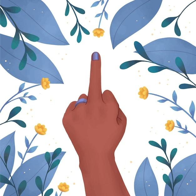 Mão de uma mulher mostrando o dedo médio com flores e folhas Vetor grátis