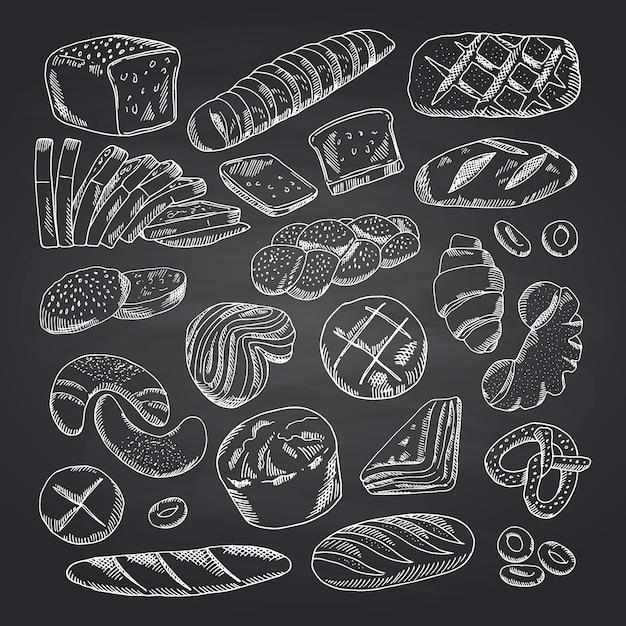 Mão de vetor desenhado contornos padaria elementos no quadro negro. esboço de lousa de padaria, ilustração de desenho de giz de doodle Vetor Premium