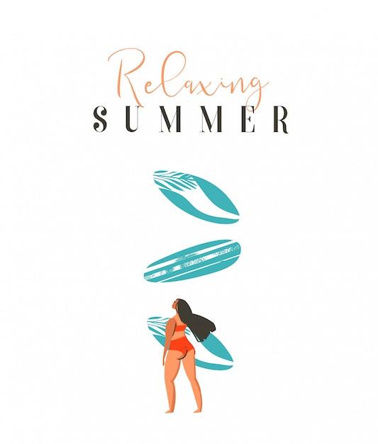 Mão desenhada abstrata bonito verão tempo praia surfista garota ilustração com biquíni vermelho, prancha de surf e citação de caligrafia moderna verão relaxante sobre fundo branco Vetor Premium