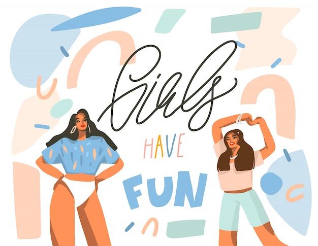 Mão desenhada abstrata gráfica ilustração das ações com jovens felizes dançando positivas mulheres com meninas se divertir, texto manuscrito caligrafia sobre fundo branco colagem Vetor Premium