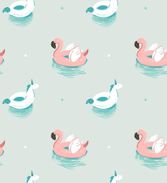 Mão desenhada abstrata horário de verão divertido padrão sem emenda com boia flamingo rosa e unicórnio piscina bóia círculo sobre fundo azul água. Vetor Premium