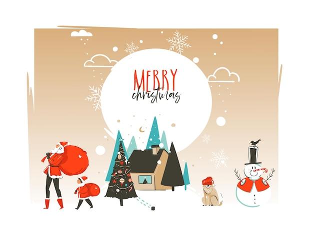 Mão desenhada abstrato modelo de cartão de ilustrações de desenhos animados de tempo feliz natal e feliz ano novo com paisagem ao ar livre, casa e família de papai noel isolado no fundo branco. Vetor Premium