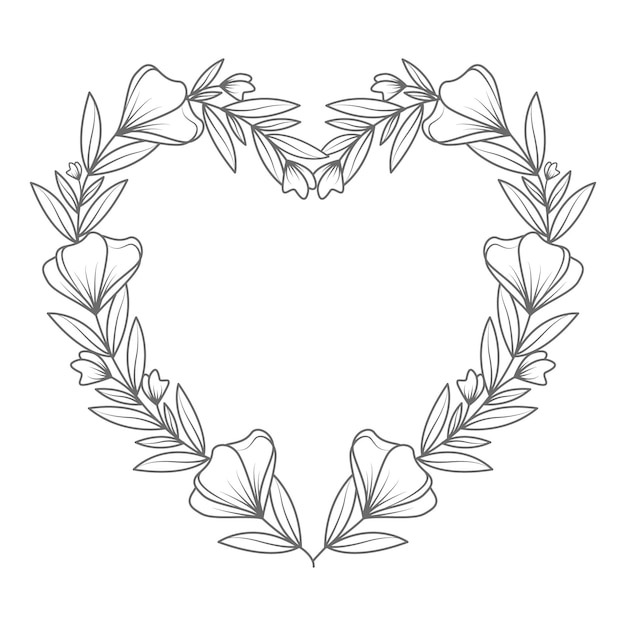 Mão desenhada adorável e ilustração de coração floral de arte de linha Vetor Premium