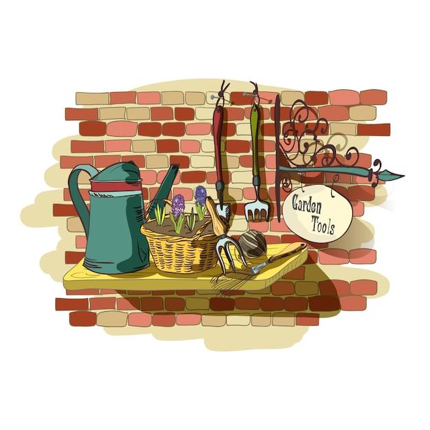 Mão desenhada ainda vida de ferramentas de jardinagem Vetor grátis