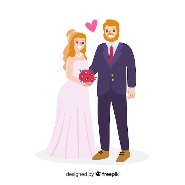Mão desenhada amorosa casal de noivos Vetor grátis