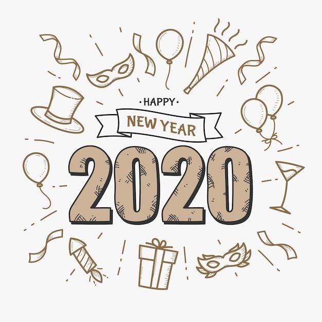 Mão desenhada ano novo 2020 fundo Vetor grátis