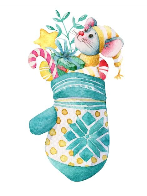 Mão desenhada aquarela ilustração de natal do mouse na luva com decorações Vetor Premium