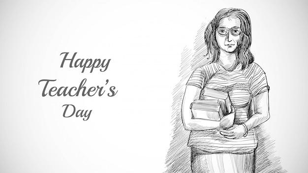 Mão desenhada arte esboço bonito professor com fundo de dia de professores Vetor grátis
