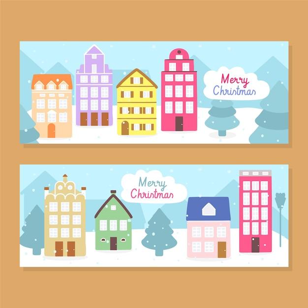 Mão desenhada banners de cidade natal Vetor grátis