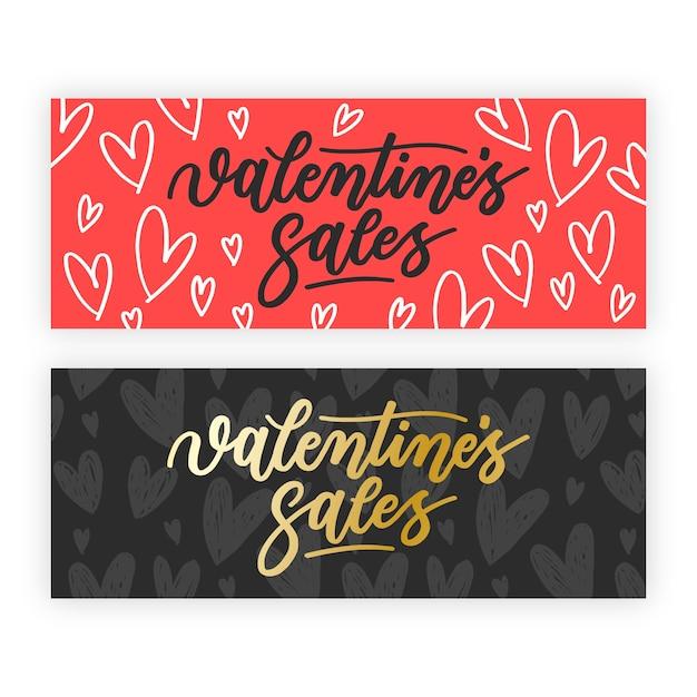 Mão desenhada banners de venda do dia dos namorados Vetor grátis