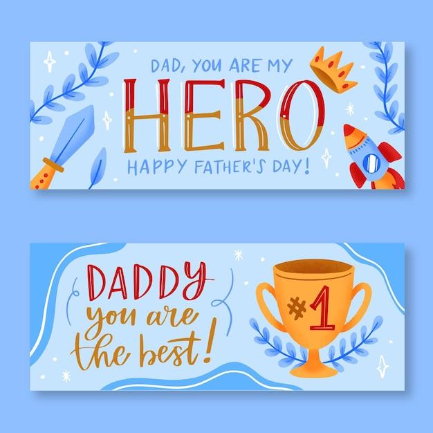 Mão desenhada banners do dia dos pais Vetor grátis