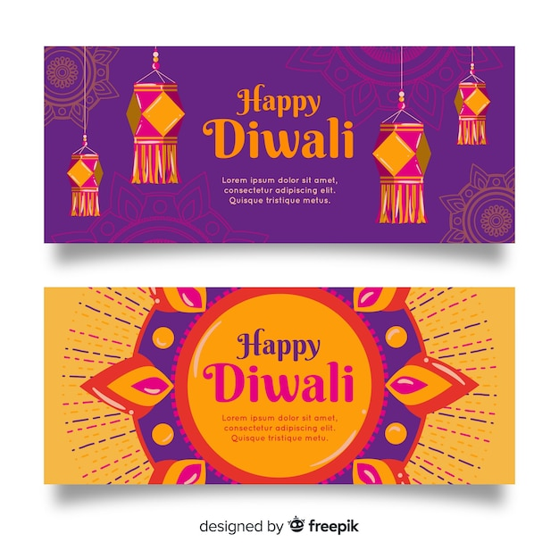 Mão desenhada banners web de diwali Vetor grátis